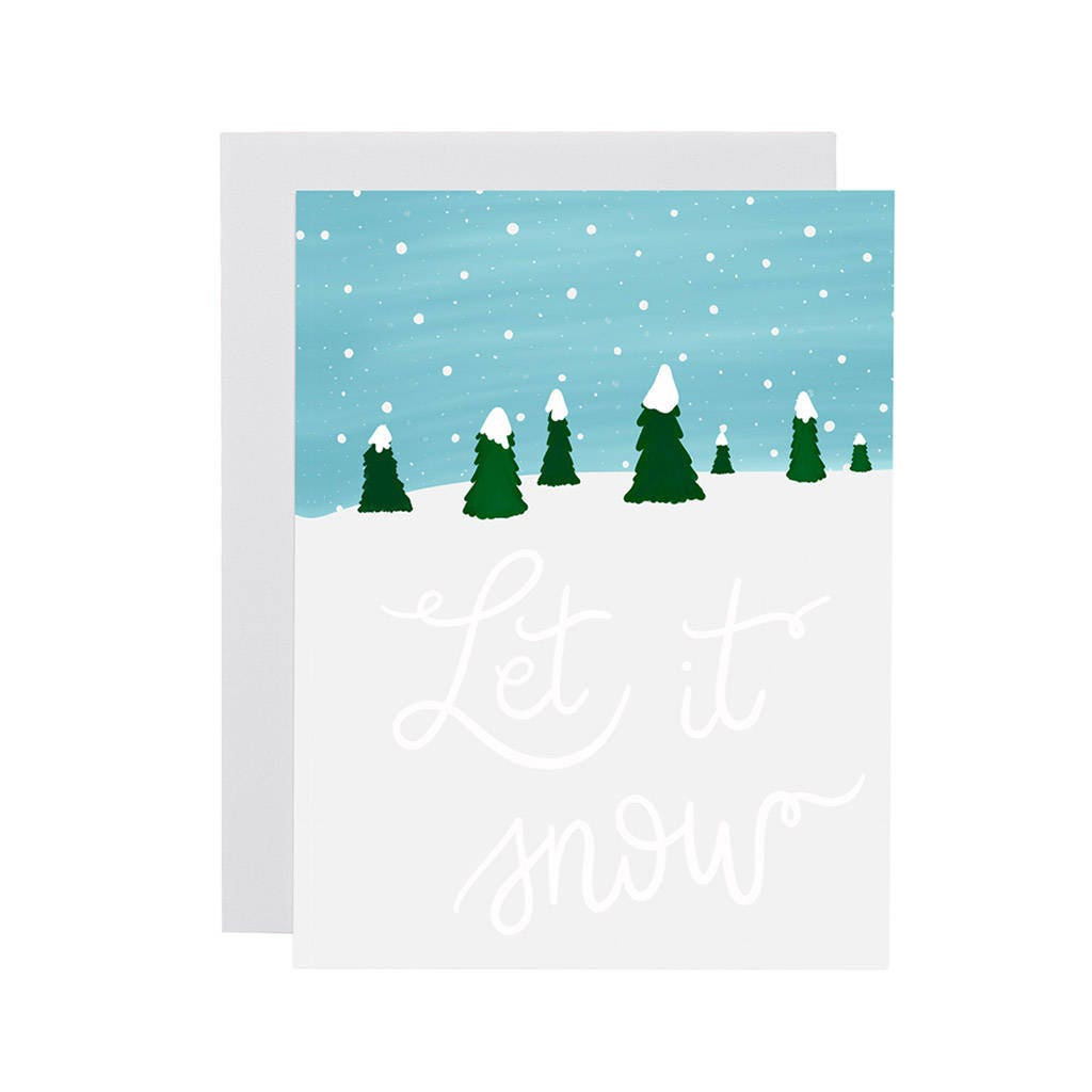 Let It Snow Card Illustrated Holiday Card Christmas Card Etsy