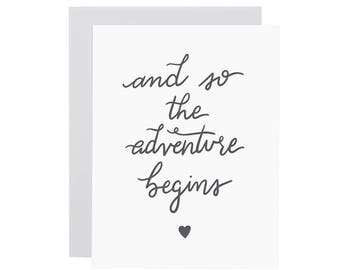 And So THE ADVENTURE BEGINS card. Love card. New Baby card. Wedding Card. Valentines Day. Any occasion card. Letterpress card.