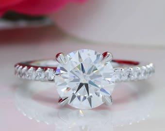 Forever One Moissanite Engagement Ring Thin Diamond Band 2Ct. Center