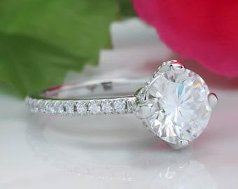 2 Carat Forever One Moissanite Engagement Ring, Diamond Compass Set