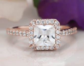 Princess Cut Moissanite Engagement Ring Diamond Halo, Thin Diamond Band