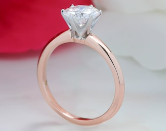 Two Tone Moissanite Engagement Ring Solitaire Forever One Stone