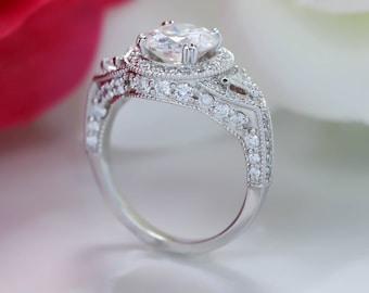 2 Carat Moissanite Engagement Ring Three Stone Trillion Side Stones Diamond Setting