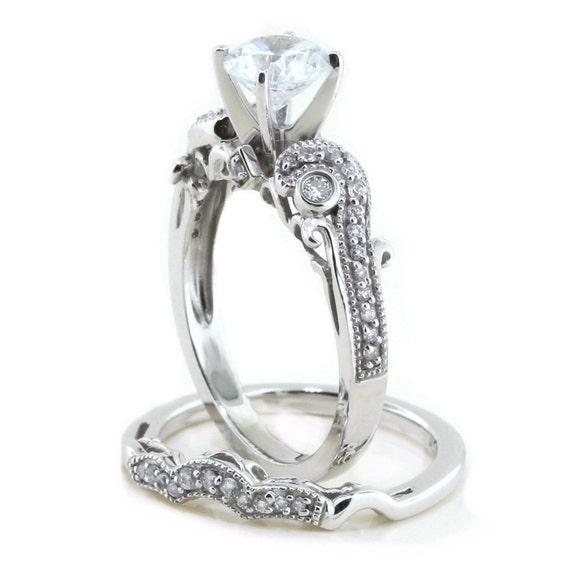 Scott Kay Platinum Engraved Five Diamond 0 30ctw Wedding: Antique Moissanite Engagement Ring Diamond Wedding Band