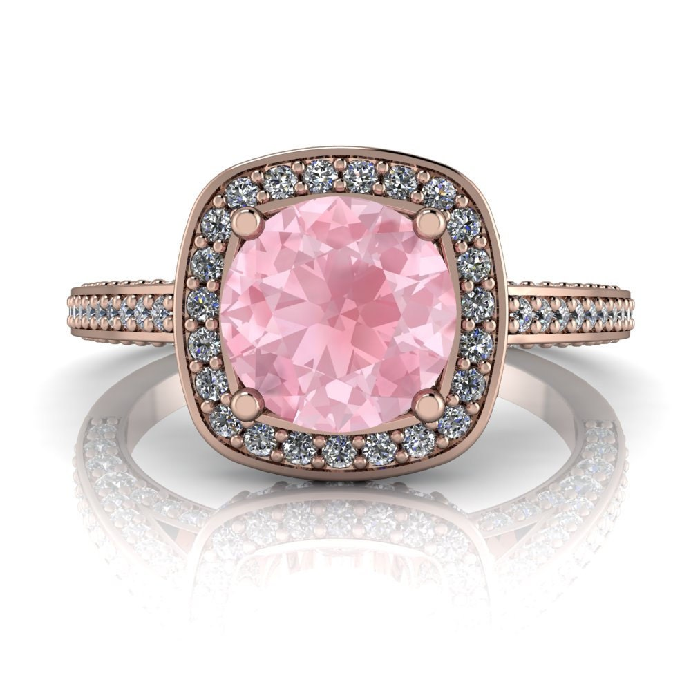 Morganite Engagement Ring Diamond Halo Setting Gold Platinum | Etsy