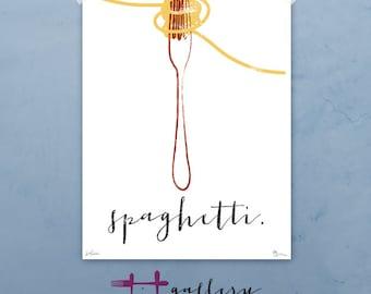 Spaghetti & Fork graphic culinary art illustration signed artist's print