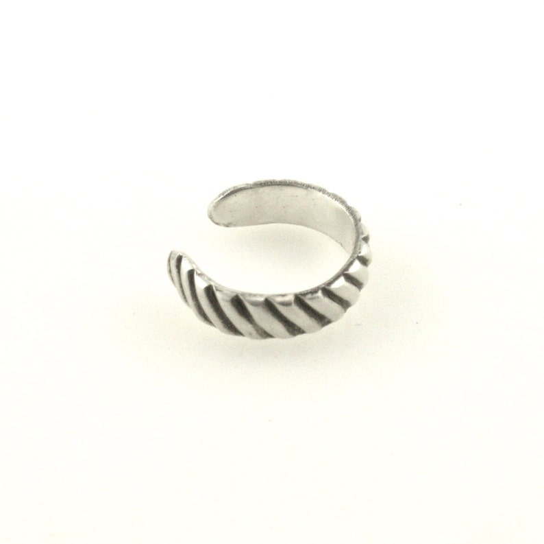 Non Pierced Cartilage Earring Sterling Silver Ear Band Grooved Stripe Design Cartilage Cuff Ear Cuff