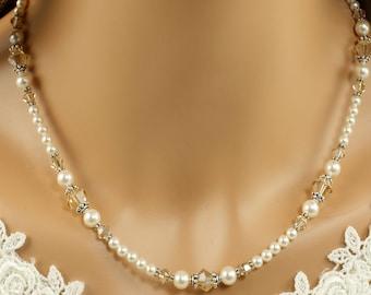 Ivory Pearl Bridal Necklace - Swarovski Pearl Necklace - Wedding Jewelry - Pearl Bridal Jewelry - Bridal Accessories