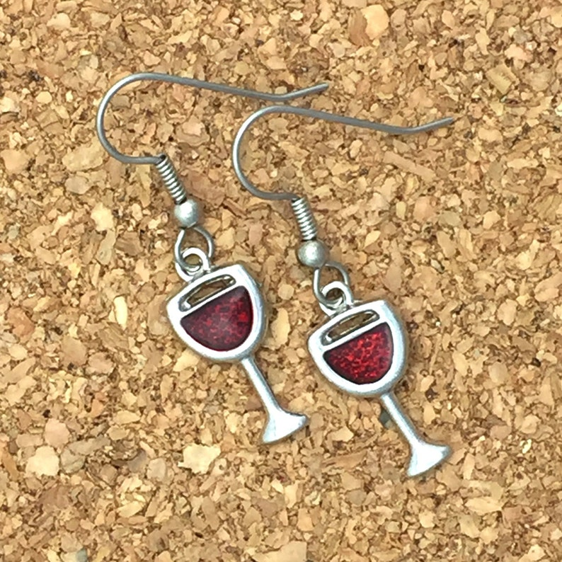 1d5ba4ee22 Red Wine Glass Earrings Wine Lovers Gift Girls Night Out | Etsy