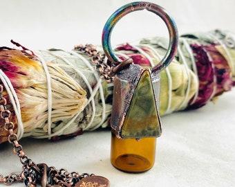 Roller bottle necklace, copper, diffuser, oil roller, electroformed, aromatherapy, potion bottle, oil vial, Jasper