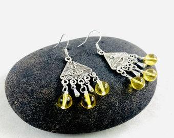 Citrine dangle earrings, yellow citrine, gypsy style, bohemian style, third eye, yellow earrings, dangle earrings, boho style