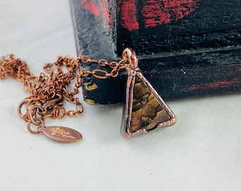 Jasper pendant necklace, copper necklace, electroplated jewelry, boho fashion, brown gemstone pendant, artistic jewelry, witchy, pyramid
