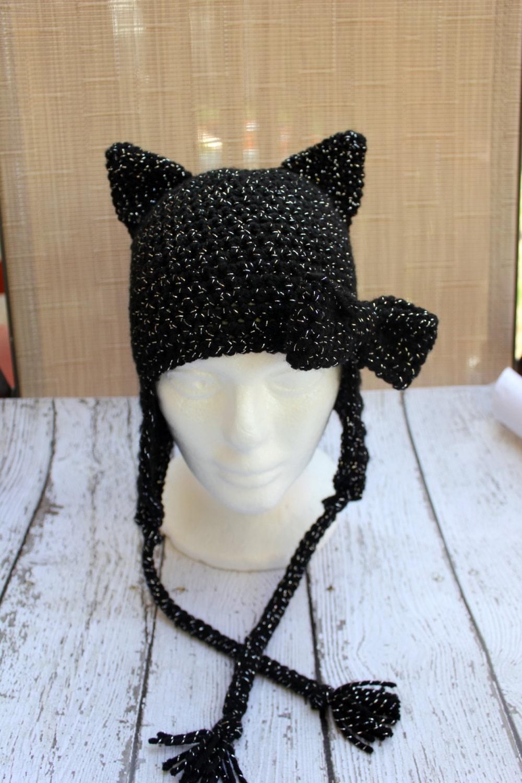 4f05453d6bdff Crochet Black Cat Hat Animal Hat Halloween Hat Costume