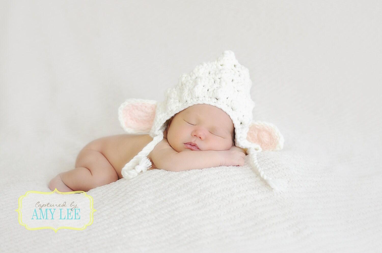 Ganchillo de bebé cordero Bonete Bonete de primavera