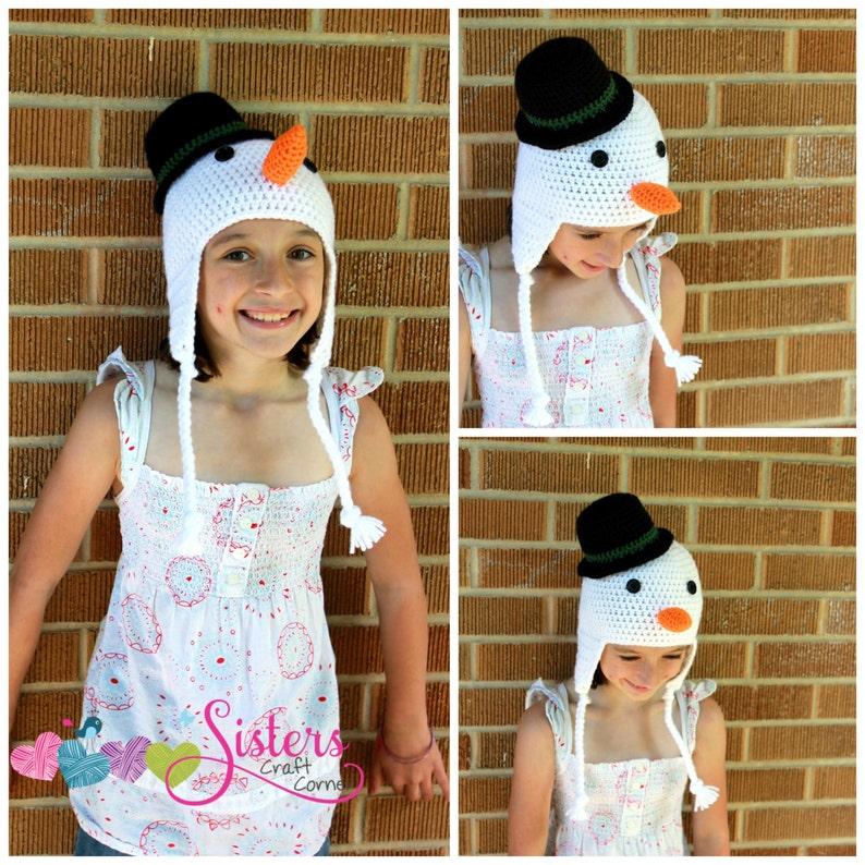 4c3142afc60 Crochet Snowman Hat Earflap Beanie Winter Hat Snowman with