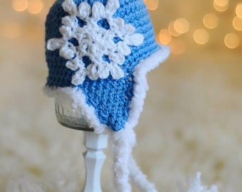 Blue Winter Snowflake Hat - Crochet Snowflake Hat - Custom Snowflake Hat - Newborn Snowflake Hat - Child Snowflake Hat - Custom Winter Hat