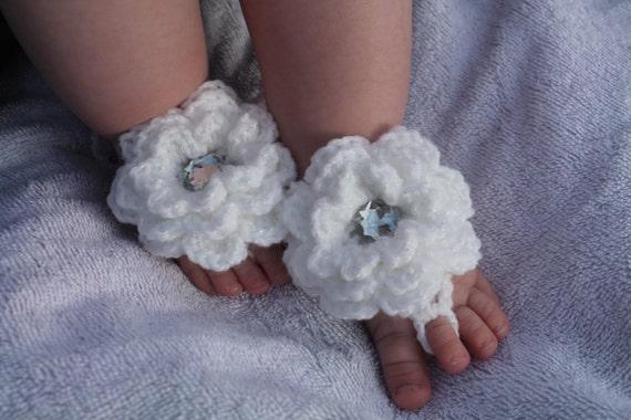 Häkeln Sie Baby barfuss Sandalen mit Blumen glitzerndes | Etsy