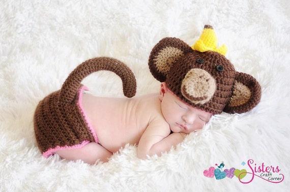 Häkeln Baby Monkey Hut & Windel decken mit Schwanz Set | Etsy
