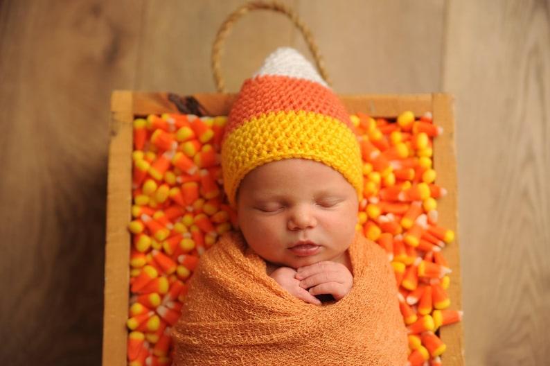 3e6a9dd3e25 Baby Candy Corn Hat Newborn Crochet Hat Candy Corn Costume