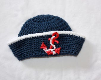 Crochet Navy Sailor Hat - Newborn Sailor Hat - Baby Boy Sailor Hat- Boy Baby Shower Gift - Newborn Photo Prop Nautical Navy Hat with Anchor