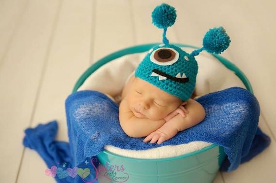70f1342f6e1 Crochet Monster Hat Baby Monster Hat Newborn photo prop