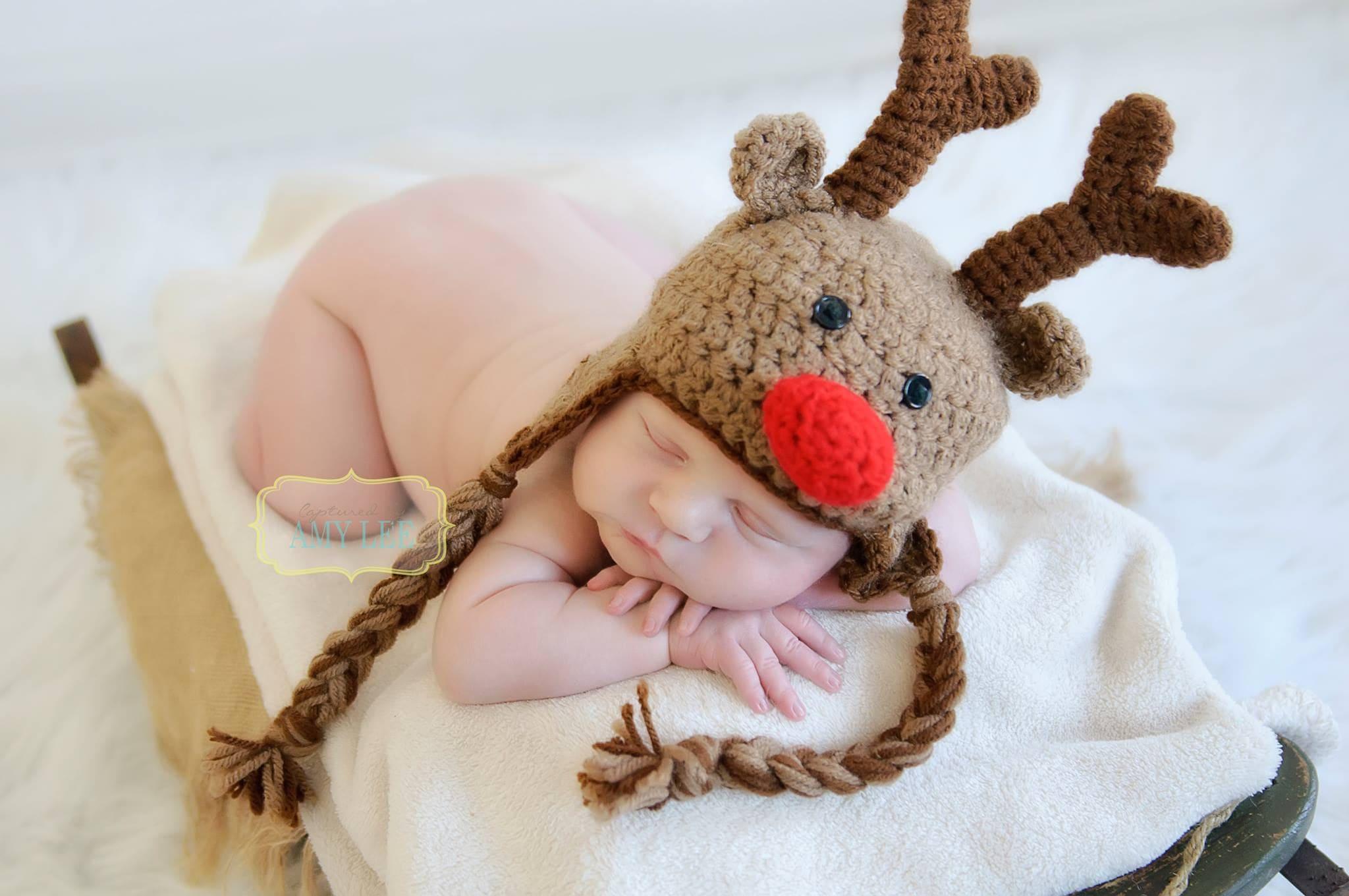 Rentier Babymütze Weihnachten Foto Prop Rudolph die rote