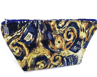 "Wedge ""Starry Night Police Box"" Cosmetic/Accessory Bag"