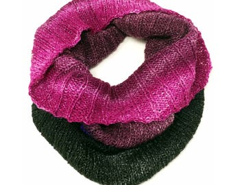 Hand-Knit Jewel Toned Gradient Cowl