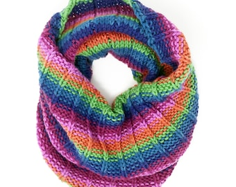 Hand-Knit Jewel Toned Striped Cowl