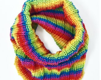 Hand-Knit Rainbow Striped Cowl