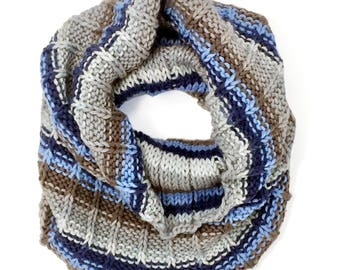 Hand-Knit Baker Street Striped Cowl