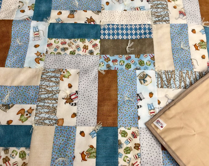 """Featured listing image: Handmade - Hand Tied """"Forest Friends"""" Baby Quilt in Blue - Portion of Sale Goes to Charity!"""