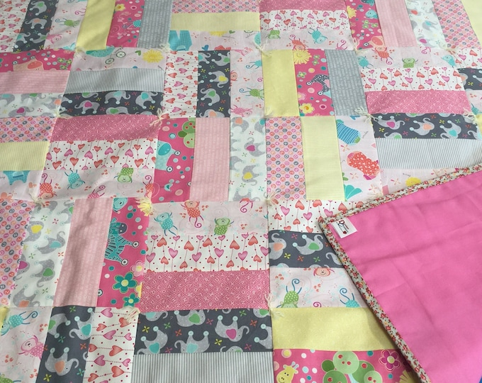 """Featured listing image: Handmade - Hand Tied """"My Little Sunshine"""" Baby Quilt in Pink - Portion of Sale Goes to Charity!"""