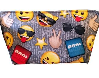 "Wedge ""Emoji on Gray"" Cosmetic/Accessory Bag"