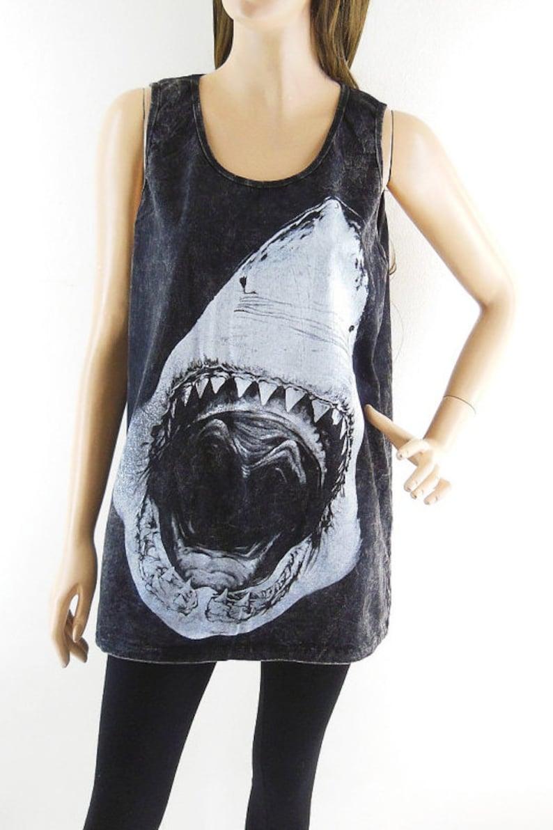 47c9839a3f8b56 Shark tank top jaws shirt soft shirt women tank top men tank