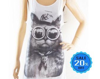 Cat Glasses shirt meow shirt animal tank instagram tshirt blogger shirt cool shirt slogan shirt funny top women tank top screen print size M