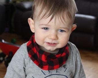 buffallo black and red plaid check infinity flannel scarf Baby Bib