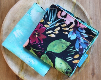 cloth napkin ( 1 ) - watercolor big floral and turquoise dye pattern - reusable cloth napkins for dinner or lunch - sustainable living