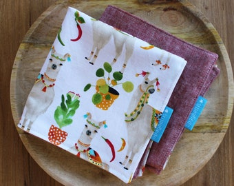 cloth napkin -llhamas and red Essex linen - reusable cloth napkins for dinner or lunch - sustainable living