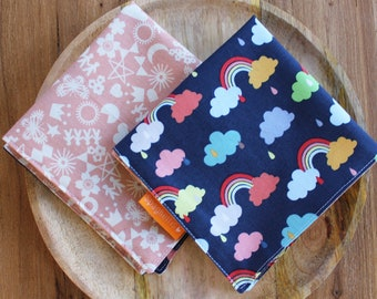 cloth napkin ( 1 ) -rainbows and pink pattern- reusable cloth napkins for dinner or lunch - sustainable living