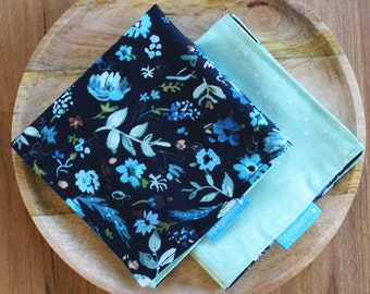 cloth napkin ( 1 ) - florals navy and mint - reusable cloth napkins for dinner or lunch - sustainable living