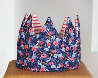 Kid Pretend & dress-up Crown birthday hat- blue florals and stripes