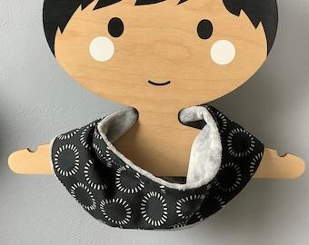 loop  scarf Baby drool Bib - black sun