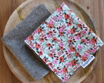 cloth napkin - floral roses + sage green Essex linen - reusable cloth napkins for dinner or lunch - sustainable living