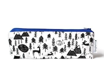 reusable straw bag -  zero waste essentials -black and white canadian forest