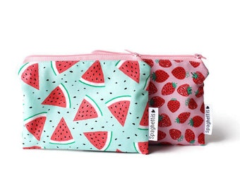 reusable snack size or big size lunch essentials -fruits strawberry or watermelon