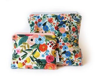 reusable zero waste zipper bag- florals