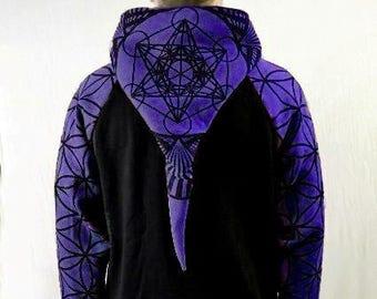 PURPLE-Men's Sacred Geometry Hoodie,- Metatrons Cube and Flower of Life print