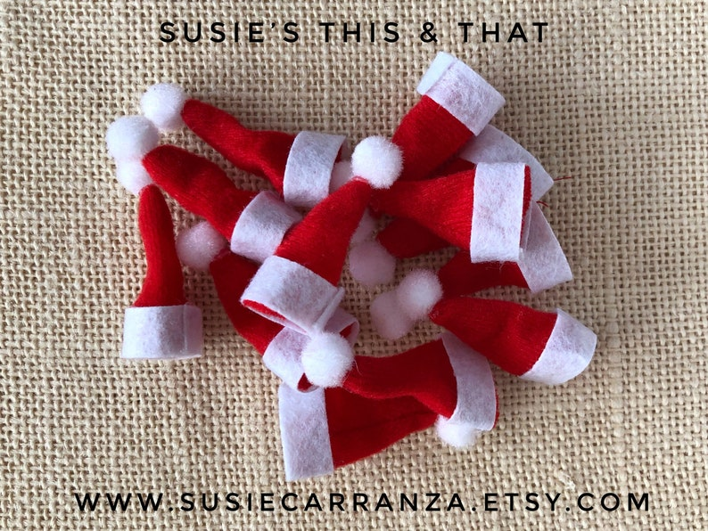 Miniature Santa Hats 1 Inch By 1 34 Inches Set Of 12 Etsy