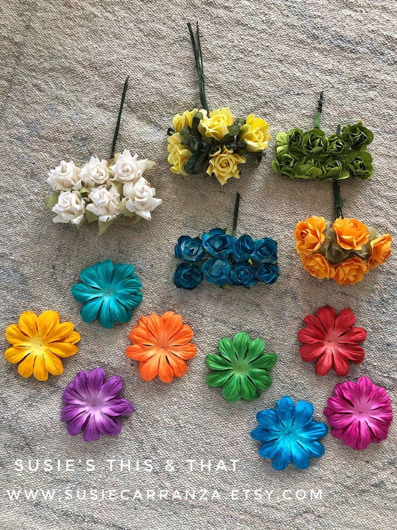 Flower Collection Variety of styles and colors 48 flowers total Susie/'s This /& That. Paper and wire